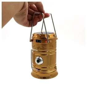 Solar LED Rechargeable Camping Tent Light Flashlight Torch Lantern Lamp Gold
