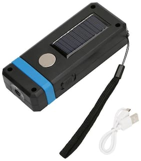 Solar Power LED Flashlight USB Rechargeable Work Night Torch Camping Hiking