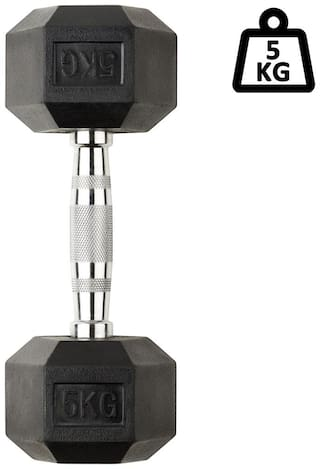 solutions24x7 single pc of rubber coated hexagonal dumbbell I fitness or strength training