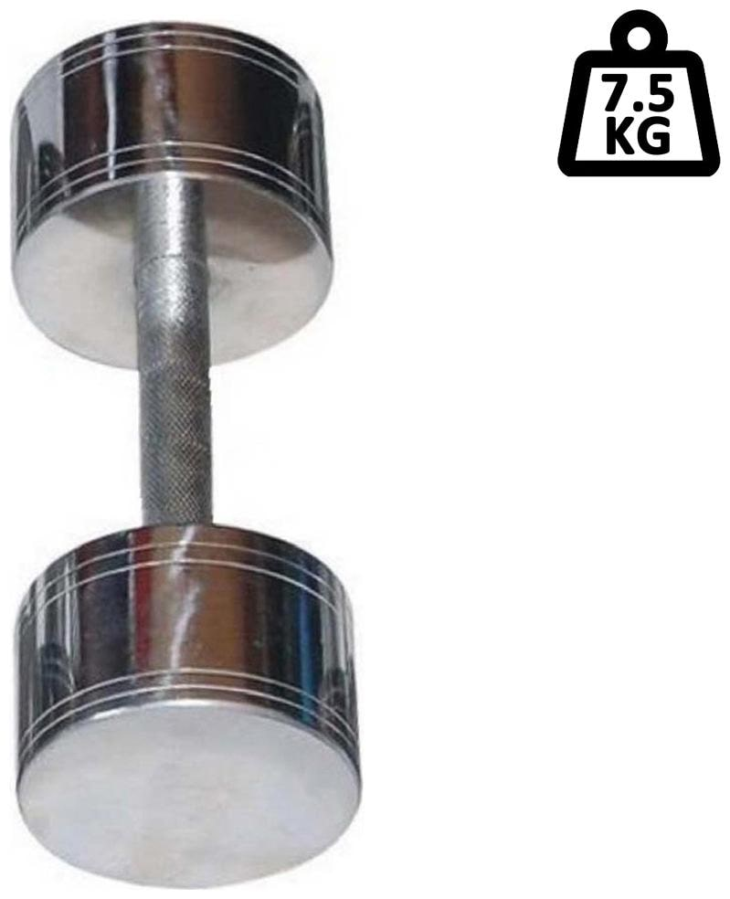 solutions24x7 1pc of 7.5kg  Steel Chrome Fixed Weight Dumbbell