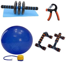 solutions24x7 best combo of Gym Ball 85cm, Ab Roller, Power Hand Grip, Pushup Bar