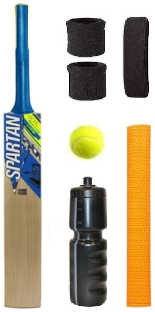 Spartan Blue/Yellow Sticker Popular Willow Cricket Bat (For Tennis Ball) Size-6 Combo (Kit of 7 Items)