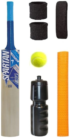 Spartan Blue Sticker Popular Willow Cricket Bat (For Tennis Ball) Size-4 Combo (Kit of 7 Items)