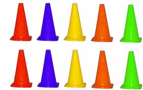 SPORTS SOLUTIONS HIGH QUALITY TRAINING MARKER CONE SET OF 10,  SIZE 9 INCH