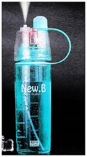 Spray Mist Squeeze Protable Water Bottle 600 ml Sipper  (Pack of 1, Blue)