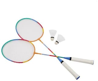 st gold wide frame badminton racquet set with 3 pieces nylon shuttlecocks and attractive 1 cover