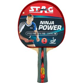 Stag Ninja Power Table Tennis Racquet-Black And Red