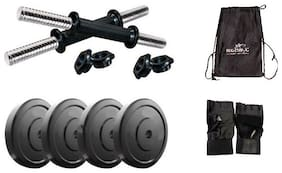 STAR X 10KG Home Gym Exercise Set Of PVC Plates With 1 Pair Dumbbell Rods;Gym Gloves & Gym Bag