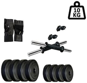 STAR X 10kg Home Gym Exercise Set Of PVC Plates With 1 Pair Dumbbell Rods & Gym Gloves