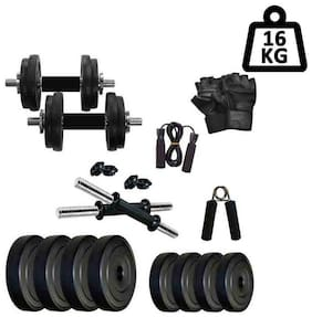 STAR X 16kg Home Gym Exercise Set Of PVC Plates With 1 Pair Dumbbell Rods & Gym Gloves;Skipping Rope & Hand Gripper
