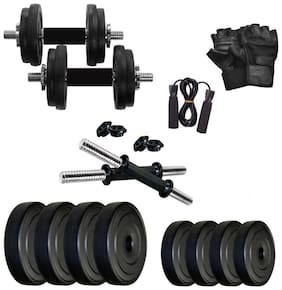 STAR X 18KG Home Gym Exercise Set Of PVC Plates With 1 Pair Dumbbell Rods & Gym Gloves & Hand Gripper