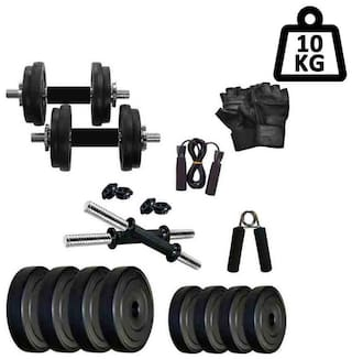 STAR X 4KG Home Gym Exercise Set Of PVC Plates With 1 Pair Dumbbell Rods;Gym Gloves;Skipping Rope & Hand Gripper