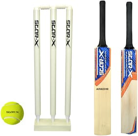 STAR-X Cricket Kit Cricket Combo With Apache Popular Willow Cricket Bat, Wicket Stump Set And Cricket Tennis Ball