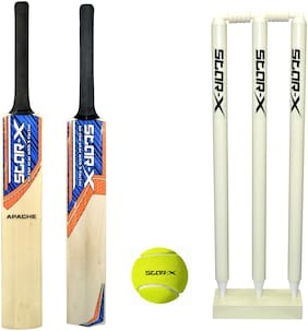 Star X Cricket Kit Cricket Combo With Apache Popular Willow Cricket Bat, Wicket Stump Set And Cricket Tennis Ball