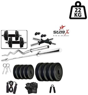 Star X Home Gym Exercise Set of 22kg PVC Weights and Accessories with 2 Dumbbell Rods, 3ft Curl Rod & 4ft Straight Rod