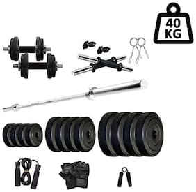 Star X Home Gym Exercise Set of 40kg PVC Weights with 2 Dumbbell Rods,5ft Straight Rod and Accessories