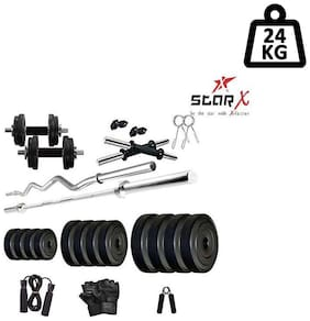 Star X Home Gym Exercise Set of 24kg PVC Weights with 2 Dumbbell Rods,4ft Straight Rod,3ft Curl Rod and Accessories