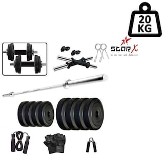 Star X Home Gym Exercise Set of 20kg PVC Weights and Accessories with 2 Dumbbell Rods, 4ft Straight Rod