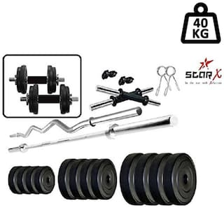 Star X Home Gym Exercise Set of 40kg PVC Weights with 2 Dumbbell Rods & 5ft Straight Rod & 3ft Curl Rod
