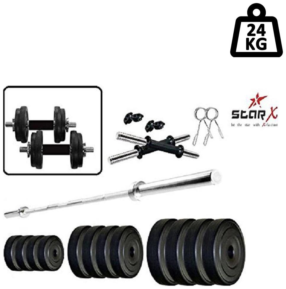 Star X Home Gym Exercise Set of 24kg PVC Weights with 2 Dumbbell Rods   4ft Straight Rod
