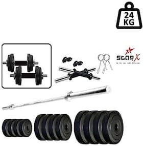 Star X Home Gym Exercise Set of 24kg PVC Weights with 2 Dumbbell Rods & 4ft Straight Rod