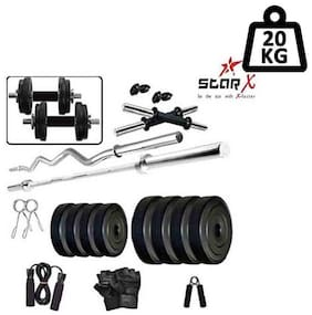 Star X Home Gym Exercise Set of 20kg PVC Weights and Accessories with 2 Dumbbell Rods, 3ft Curl Rod & 4ft Straight Rod