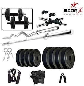 Star X Home Gym Exercise Set of 14KG PVC Weights and Accessories with 2 Dumbbell Rods, 3Ft Curl Rod & 4Ft Straight Rod