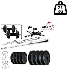 Star X Home Gym Exercise Set of 22kg PVC Weights with 2 Dumbbell Rods, 3ft Curl Rod & 4ft Straight Rod