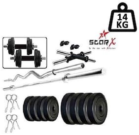 Star X Home Gym Exercise Set of 14kg PVC Weights with 2 Dumbbell Rods, 3ft Curl Rod & 4ft Straight Rod