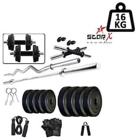 Star X Home Gym Exercise Set of 16kg PVC Weights and Accessories with 2 Dumbbell Rods, 3ft Curl Rod & 4ft Straight Rod