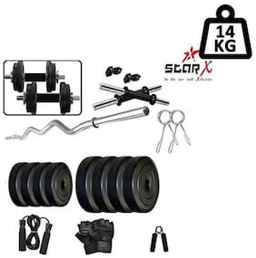 Star X Home Gym Exercise Set of 14 kg PVC Weights and Accessories with 2 Dumbbell Rods, 3ft Curl Rod
