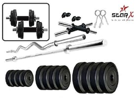 Star X Home Gym Exercise Set of 30kg PVC Weights with 2 Dumbbell Rods & 5ft Straight Rod & 3ft Curl Rod