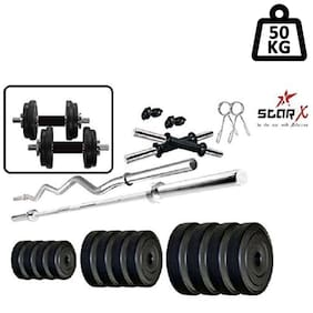 Star X Home Gym Exercise Set of 50kg PVC Weights with 2 Dumbbell Rods & 5ft Straight Rod & 3ft Curl Rod