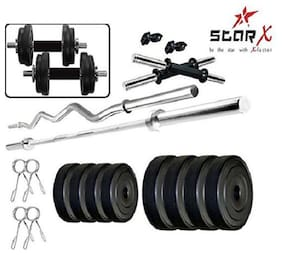 Star X Home Gym Exercise Set of 16kg PVC Weights with 2 Dumbbell Rods, 3ft Curl Rod & 4ft Straight Rod