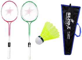 Star X Trendy Colored Double Shaft Badminton Racket With Double Wiring, Soft Grip, Light Weight,Cover Protected And Shuttle Cock Pack Of 10