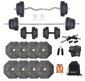 StarX Hexa Shape PVC 32KG Home Set With Rod and Gym Accessories Home Gym Combo (3FT and 4FT)