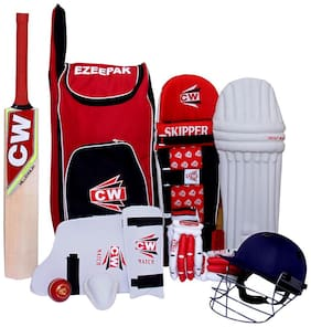 Storm 9 Item Junior Red Complete Match Cricket Kit Set Accessories Pack With Bat Size 5 Ideal  For 9-10 Yr Kids/Child