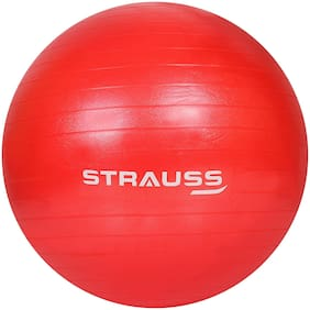 Strauss Anti Burst Gym Ball with Foot Pump, 85 cm, (Red)