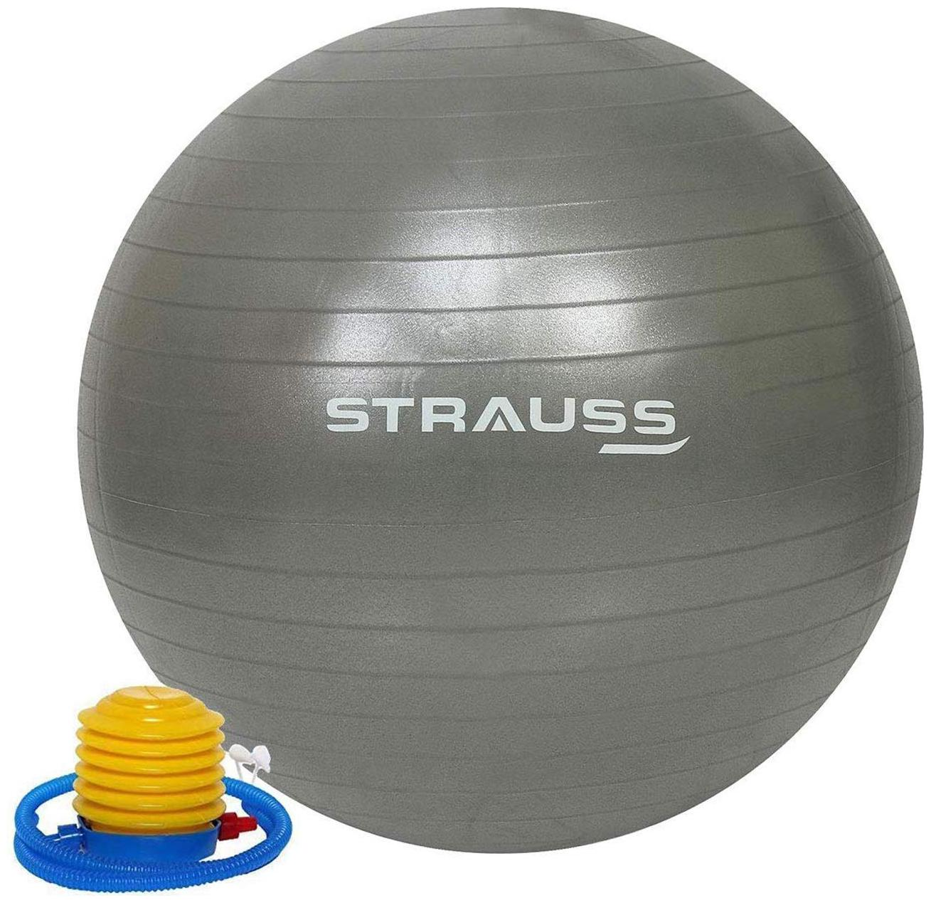 Strauss Anti Burst Gym Ball, 55 CM,  Grey  by Khel Kood