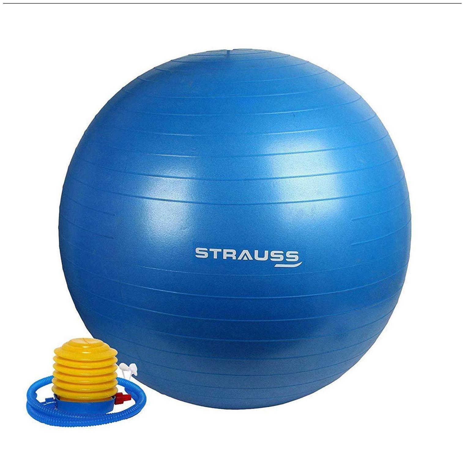 Strauss Anti Burst Gym Ball with Foot Pump, 85 CM  Blue  by Khel Kood