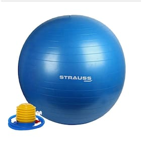 Strauss Anti-Burst Gym Ball with Foot Pump, 85 CM (Blue)