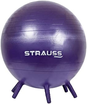 Strauss Anti Burst Gym Ball With Stability Legs, 55 cm, (Purple), (With Pump)