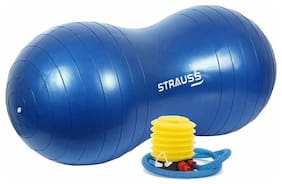 Strauss Anti-Burst Peanut Shape Gym Ball With Foot Pump, (Blue)
