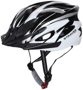 Strauss Adjustable Cycling Helmet, (Black, White)