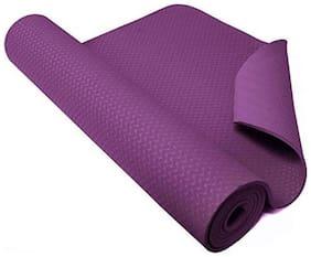 Strauss Eco-Friendly Single Texture TPE Yoga Mat 6 mm, (Purple)