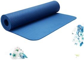 Strauss Eco-Friendly Single Texture TPE Yoga Mat 6 mm, (Blue)