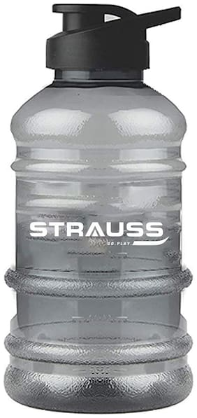 Strauss Gallon Shaker Water Bottle 1.5L with Mixer Ball, (Transparent, Black Shade)