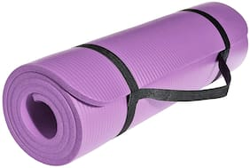 Strauss Extra Thick Yoga Mat with Carrying Strap, 10 mm (Purple)