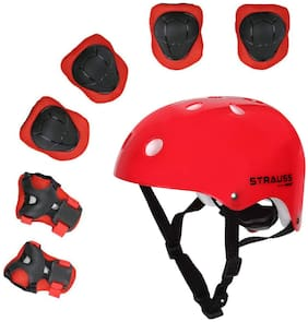 Strauss Protective Gear Set for Kids with Adjustable Ring;(Red)