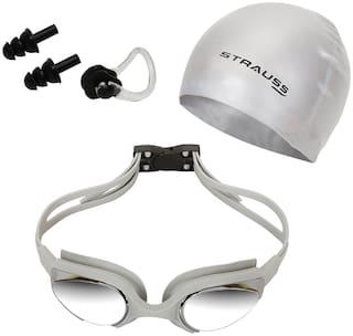 Strauss ST-1345 Plastic Swimming Goggles Set (Grey)